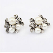 Chic Fashion Women's Silver Plated Crystal Pearl Flower Ear Stud Earrings Gift