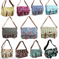 Ladies Canvas Oilcloth Satchel Over Body Messenger Shoulder School Bag Owl