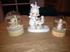 Precious Moments Lot ,'This Is Your Day To Shine' Figure And Two Snow Globes EUC