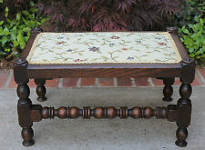 Antique English Oak Bobbin Twist Floral Upholstered Bench Foot Stool