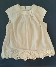 Madewell Eyelet-Hem Stitched Peasant Top #B8699 Medium M top Sold Out White $88