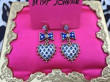 Betsey Johnson Ivy League White Blue Lucite Heart Anchor Polka Dot Bow Earrings