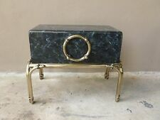 CHIC VINTAGE FAUX PAINTED MARBLEIZED TRUNK ON BRASS STAND TABLE KARL SPRINGER