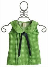 NWT Persnickety Gypsy Caravan LANEY Green Dot Blue Bow Blouse Top 2 2T