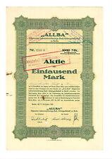 """""""ALLBA"""" Allgemeine Lebensversicherungs-Bank  AG zu Berlin 1000 Mark 1922 Berlin"""