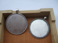 5pcs Antique Silver 40MM Round Alloy Trays Pendant Blank Bezel Cabochon Setting