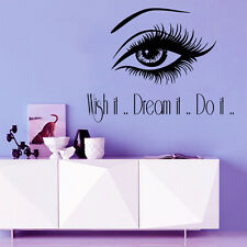 Make Up Wall Decal Quote Wish It Dream It Do It Eye Vinyl Sticker Art Decor M985