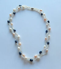 Necklace - Pearls-freshwater black white peach -triple braided strand -19""