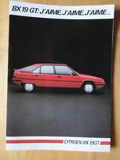 CITROEN BX 19 GT 1985 French Mkt sales brochure