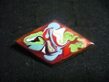Vintage Red Enameled Solid Copper Modern Art Diamond Shape Brooch Pin