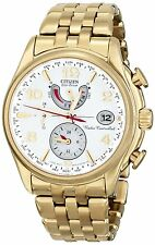 BRAND NEW CITIZEN FC0002-53A WORLD TIME A-T WHITE DIAL GOLD STRAP WOMEN'S WATCH