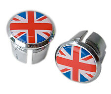 Union Jack Flag Bicycle Handlebar Chrome Plastic Bar End Plugs, Caps L'Eroica