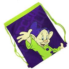 SIETE ENANITOS CACHORRO Bolsa mochila con cordón tejido verde e violeta 42x33,