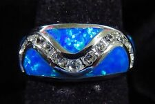 Silver 925 Filled Size 5 Ring Blue Lab Fire Opal & White Topaz Accents