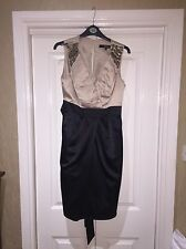 Star By Julian Macdonald Gold And Black Silk Cocktail Dress Size 12