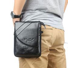 Men Fashion Messenger Bag  Genuine Leather Waist Bag Shoulder Messenger Bag