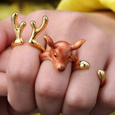 3Pcs/Set Cute Animal Deer Adjustable Finger Rings Christmas Party Gifts Unique