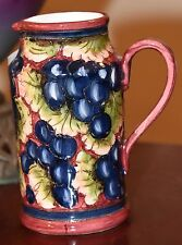 "FATTO A MANO MONTELUCIA ITALY GRAPES HAND PAINTED SMALL PITCHER 5"" H x 4.5""W"