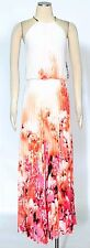 MSK White Orange Coral Maxi Dress Size 6 Cocktail Halter Pleated Women's New*
