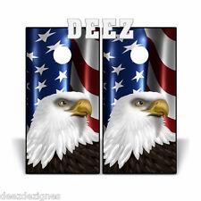 Cornhole Board Beanbag Toss Vinyl Decal Wrap WAVING AMERICAN FLAG/EAGLE USA V1