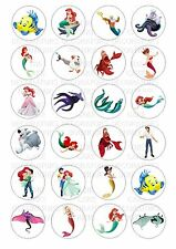 24 Little Mermaid Wafer / Rice Paper Cupcake Topper Edible Fairy Cake Toppers