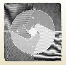 NWT Gucci Striped Equestrian Print Silk Chiffon Foulard Scarf, Black/Ivory W/R.