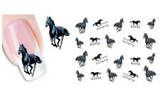 Nail Art DECALS - Black Horse Pony Cartoon Cute Pretty Water Transfers