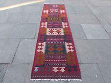 Old Hand Made Afgano Tradizionale Lana Tribale Rosso Marrone Kilim Runner 284x80cm