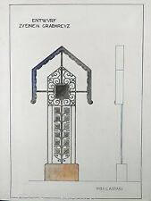 JUGENDSTIL Grabkreuz Entwurf ° Aquarell ° Kunstschlosser Wilh.Caspari um 1910
