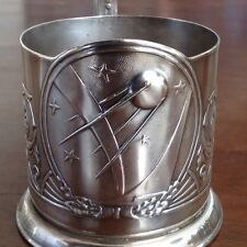 Russian Sputnik Tea Cup Glass Holder Podstakannik Space Ship Satellite Soviet