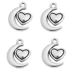50pcs Antique Silver Heart&Moon Charms Pendants Alloy Jewelry Findings Crafts C