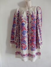 New Warehouse Yoke Border Notch Neck  Silk  Floral Pattern Tunic Dress Size 12