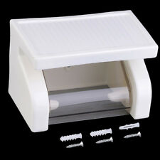 Plastic White Wall Mounted Waterproof Toilet Roll Paper Box Holder Bathroom Tool