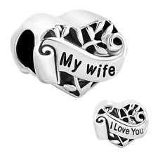 Christmas Gifts Silver Plated Heart I Love You My Wife Charm New Sale Cheap Bead
