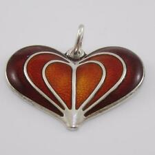 Vintage David Andersen Sterling Silver Modernist Red Enamel Heart Pendant