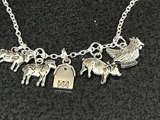 "Farm Animals Barn Sheep Cow Pig Chicken Charm Tibetan Silver 18"" Necklace"
