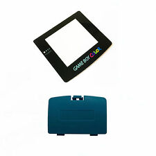 New TEAL Game Boy Color Battery Cover + New Screen Lens GBC Replacement Door