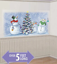 SNOWMEN decorating tree Scene Setter Christmas holiday party 5' wall decor kit
