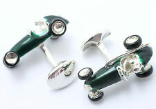 Deakin & Francis Sterling Silver Enameled Vintage Racing Cars Cufflinks Race Car