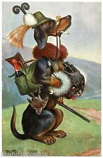 SIGNED ARTHUR THIELE. CHIEN. DOG. CHASSEUR. HUNTER.TECKEL. DACHSHUND CHAT. CAT.
