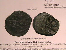 ANCIENT BYZANTINE COIN, JUSTIN II & QUEEN SOPHIA, 565 AD
