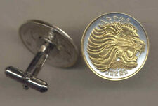 Gold And Silver Ethiopia 25 Cent Lion Coin Cuff Links, 123CF