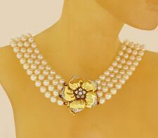 18k Yellow Gold Flower Clasp & Pearl Strand Necklace