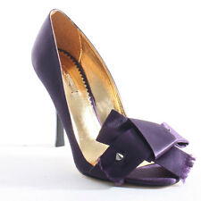 "Report Signature ""Amelie"" Satin Purple Heels w/ Spiked Bows $168 NEW sz 9.5"