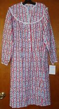 NWT Lanz of Salzburg Womens Flannel Nightgown Size Medium Tyrolean Red Hearts