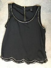 H&M BLACK VEST WITH DOUBLE ROW OF LONG MATT SILVER BEADS AROUND EDGES & WAVY HEM