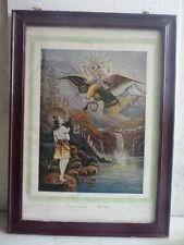 LITHO PRINT OF INDIAN GOD SHIVA AND VISHNU SITED ON EAGLE COLLECTIBLE PRINT