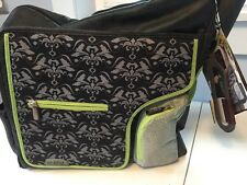 JJ Cole System 180 Diaper Bag, Black Damask, Grips, Changing Pad, NWT,  New