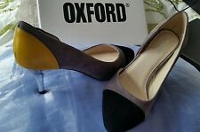 BNIB $199.00 OXFORD Sexy Multi Silver Heels  Pump Leather Heels shoes Size 8