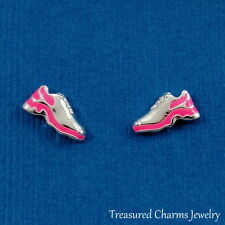 Silver and Neon Pink Running Shoe Post Stud Earrings - Runner Marathon NEW